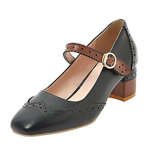 YE Damen Mary Janes Brogue Pumps Blockabsatz High Heels mit Riemchen Elegant Schuhe Schwarz