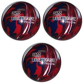 EPCO-Duckpin-Bowling-Ball-Urethane-Pro-Line-Dark-Red-Royal-White-3-Balls
