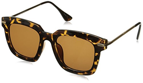 zeroUV Oversize Slim Metal Temple Square Lens Horn Wayfarer Sunglasses, Tortoise Gold / Green Gradient, 50 - Gentle Amazon Monster Sunglasses