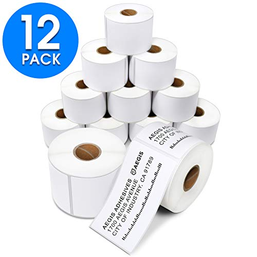 "Aegis Adhesives - 2 ¼"" X 4"" Direct Thermal Labels for Shipping & Postage, Perforated & Compatible with Rollo Label Printer & Zebra Desktop Printers (12 Rolls, 350/Roll)"