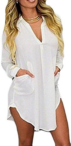 Confort Cruiize Des Femmes Solide Poche À Manches Longues Robe Chemise Col En V Blanc
