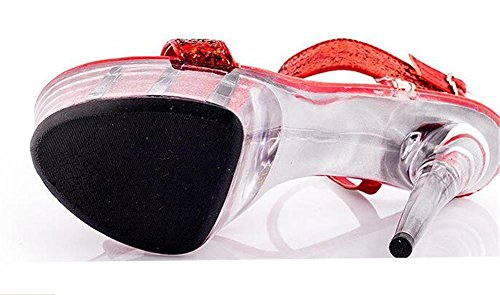 41 Red o Club Zapatos correa 35 tobillo sandalias Stiletto Tama de Heel Lentejuelas Crystal de Plataforma Glitter a Party de mujer wwaqxRH