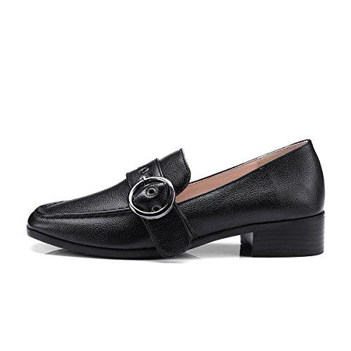 Show Shine Dames Casual Slip Op Gespen Instappers Schoenen Zwart