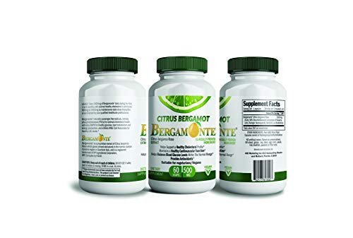 (Citrus Bergamot, Cholesterol lowering support - Bergamonte supplement with Clinical Studies For Cholesterol Cardiovascular Blood Sugar and Weight Loss 60 Vegetarian Capsules 500MG Each Polyphenolic 22)