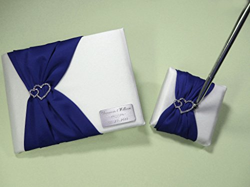 Personalized White and Royal Blue Wedding Guest Book and Pen Set with Linked Hearts