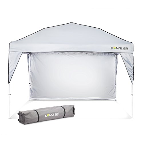 Pop Up Canopy and Shade Tent: Easy to Set Up Outdoor Canopy for Camping, Tailgating, Parties and Beach - Waterproof and Flame Resistant Polyester Material with Ventilation and Sun Wall - 10' x 10' by Conquer Outdoors