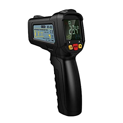 Dr.meter Non-Contact Digital Laser IR Infrared Thermometer Temperature Gun,With Full View Color LCD Backlit Display ,12 Point Aperture,-58F-1022,IR-60