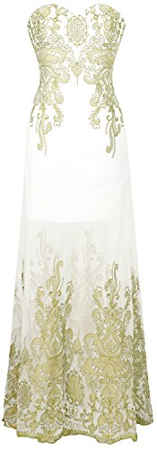 Angel-fashions Women's Sweetheart Floral Embroidery Transparent Long Cocktail Dress (XXL, Gold White) (Gold Floral Heart)