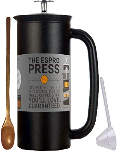 Espro Coffee Press P7-18 oz Double Wall Vacuum Insulated Midnight Black Stainless Steel Coffee Press, Zonoz One-Tablespoon Plastic Clever Scoop & Zonoz 8.25-Inch Wooden Stirring Spoon Bundle (Black)