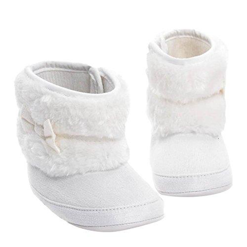 Domybest Winter Baby Mädchen Schnee Stiefel mit Pelz Bowknot Fleece warme Schuhe Weiß