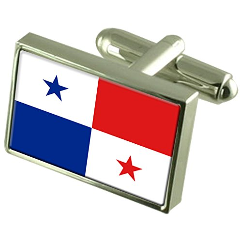 Panamá Sterling Silver Flag Cufflinks by Select Gifts