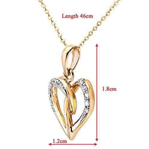 Naava - Collier Femme avec pendentif - Coeur - Or Jaune 375/1000 (9 Cts) 1.2 Gr - Diamant