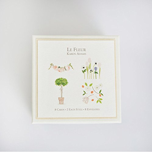 "Karen Adams""Le Fleur"" Gift Enclosure Box of 8 Assorted Cards with Envelopes"