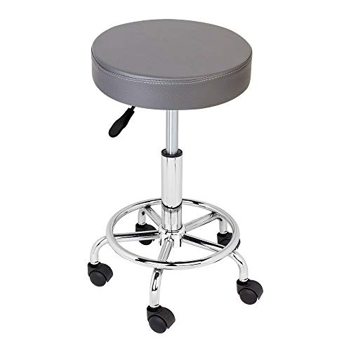 Rolling Stool Chair Hydraulic Rolling Swivel Salon Stool Chair Adjustable Height with Wheels for Home Shop Tattoo Spa, Ergonomic Swivel Chair Grey(PU Leather Cushion) (1pcs)