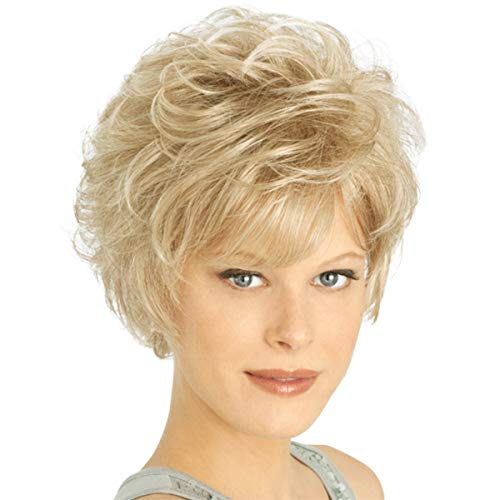 ELIM Blonde Wigs for White Women Short Curly Womens Wig Full Synthetic Hair Wigs with Wig Cap Z122A -