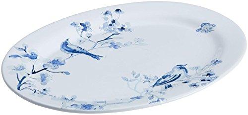 Paula Deen Indigo Blossom Stoneware Oval Serving Dinnerware Platter, 10