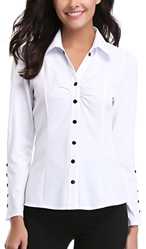 MISS MOLY Women's White Button Down Shirt V Neck Collar Puff Sleeve Office M by MISS MOLY (Image #4)'
