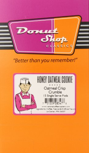 - Donut shop Coffee Pods, Honey Oatmeal Cookie, 15 Count (Pack of 6)