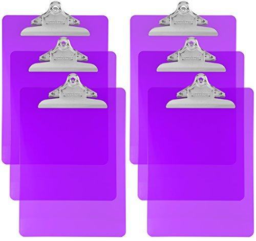 Trade Quest Plastic Clipboard Transparent Color Letter Size Standard Clip (Pack of 6) (Purple)