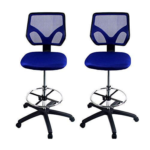 Cool Living Mesh Armless Fixed Upright Adjustable Height Drafting Chair, Blue (2 Pack)