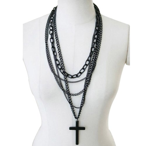 1Pcs Fashion Retro Multi-layer Chains Pendant Black Cross Metal Long Necklace by Easygoby