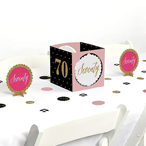 Big Dot of Happiness Chic 70th Birthday - Pink, Black and Gold - Birthday Party Centerpiece & Table Decoration Kit