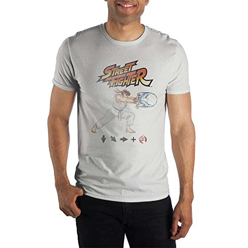 Street Fighter Ryu Action Mens Gaming Move T Shirt-M White
