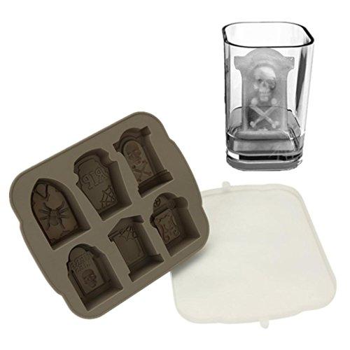 Ice Tray, Creativity 3D Tombstone Ice Cube Mold Wine Ice Cube Tray Maker Ice Tray (gray) (Mini Tombstones)
