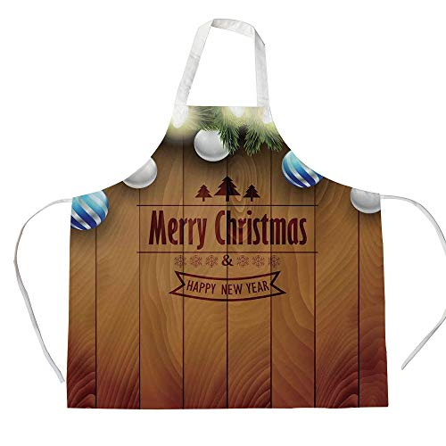 Christmas 3D Printed Cotton Linen Apron,Wooden Setting with Silver Balls Fairy Tale Setting and Pine Tree Twigs Wishes Theme,for Cooking Baking Gardening,Brown]()