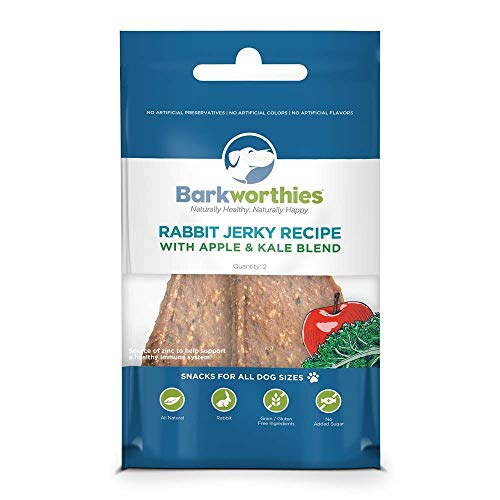 Barkworthies Rabbit Jerky Recipe with Apple and Kale Dog Snacks 2 Count