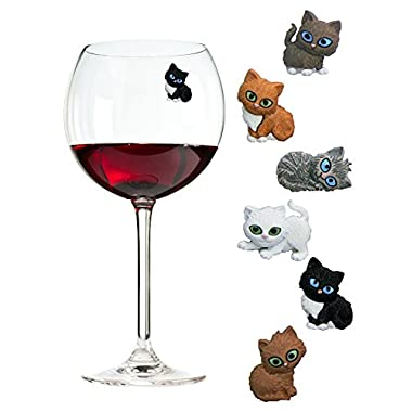 Simply Charmed Cat Wine Charms or Glass Markers - Magnetic - Great Birthday or Hostess Gift for Cat Lovers - Set of 6 Cute Kitty Glass Identifiers