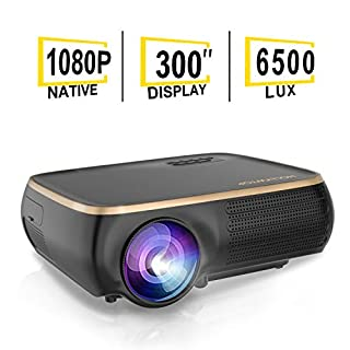 "HOLLYWTOP Professional M8 Native 1080P Full HD LED Projector, 6500 Lux HDMI Projector with 300"" Display Compatible TV Stick, HDMI, VGA, USB, Laptop"