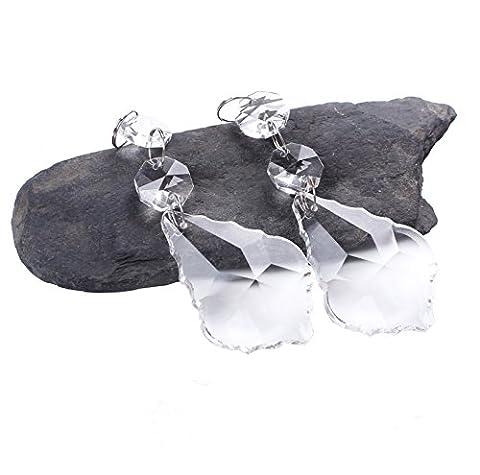BIHRTC Pack of 12 Clear Crystal Maple Leaf Chandelier Prisms Pendants Hanging Galss Crystal Pendants (Crystal Prism Pendant)