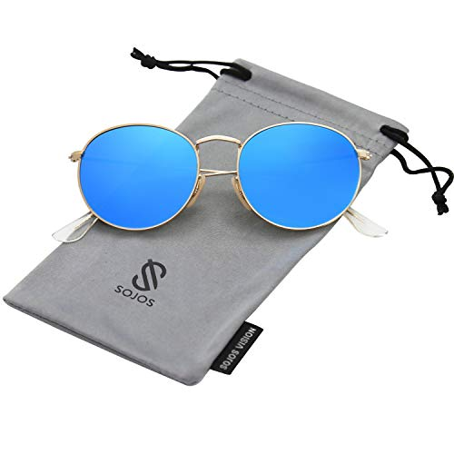 - SOJOS Small Round Polarized Sunglasses Mirrored Lens Unisex Glasses SJ1014 3447 with Gold Frame/Blue Mirrored Polarized Lens