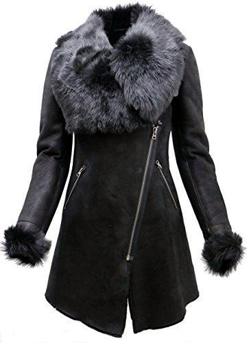 - Infinity Women's Black Suede Merino Sheepskin Leather Coat with Toscana Collar 3XL