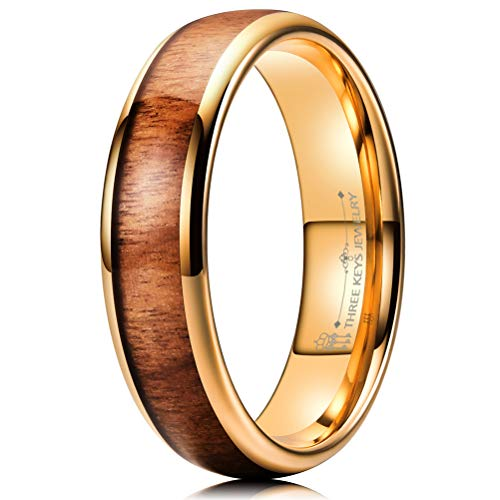 THREE KEYS JEWELRY 6mm Tungsten Carbide Wedding Ring for Women with Koa Wood Inlay Plated Rose Gold Domed Wedding Band Engagement Ring Comfort Fit Size 10
