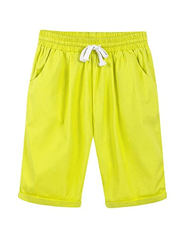Gooket Women's Casual Elastic Waist Knee Length Curling Bermuda Shorts with Drawstring Yellow - (Juniors Drawstring Bermuda Shorts)