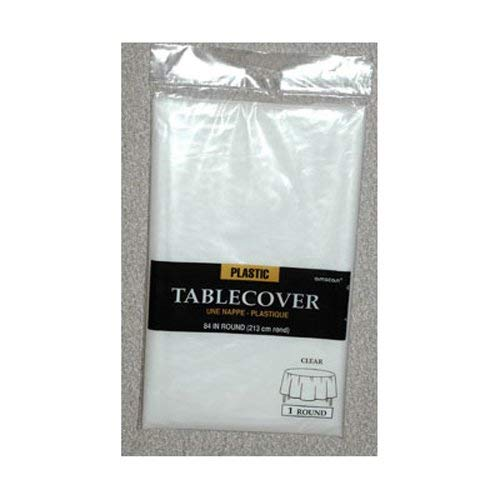 Amscan Round Plastic Table Cover | Clear | 84'' | Party Supply | 12 ct.