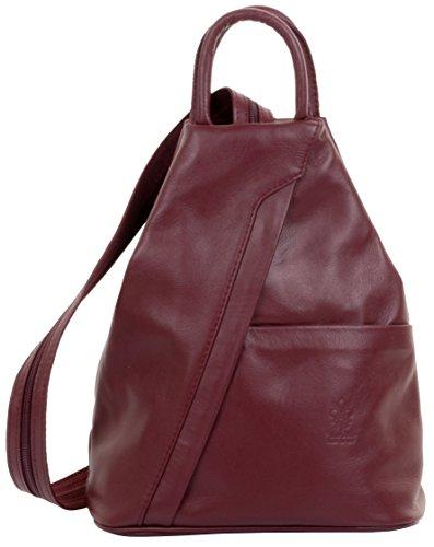 Primo Sacchi? Italian Soft Napa Leather Top Handle Shoulder Bag Rucksack Backpack. Includes Branded Protective Storage Bag Dark Red