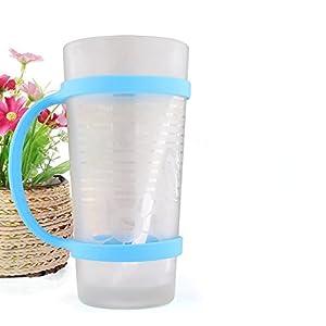 Pack of 2 pcs Silicone Water Bottle Carrier Grip Bottle Band Holder Strap (Blue & Orange)