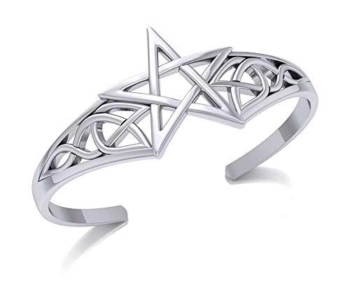 Sterling Silver Pentagram Cuff Bracelet with Celtic Knots