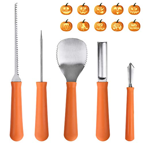 Halloween Decorations, OTBBA 5 Piece Halloween Pumpkin Carving Tool Kit With 10 Carving Stencils DIY Halloween Jack-O-Lantern For Pumpkin Party Decorations for $<!--$12.99-->