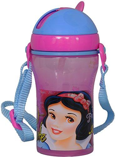 Disney Snow White Plastic Sipper Bottle, 400ml, Pink/Blue