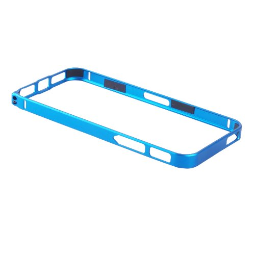DHSHOP Fashion Luxury Ultra-Thin 0.7mm Aluminum Metal Alloy Blade Bumper Bezel Frame Case Cover for iPhone 5 5G 5S (Blue)