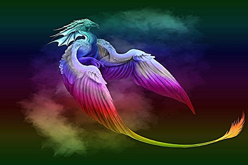 - Wings Dragon Smoke Synthetic Image Tail Animal Poster Fabric Silk Poster Print 84292