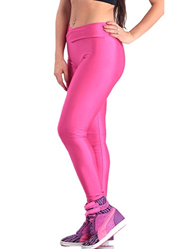 Pink Queen Womens Skinny Wet Look Flourescent Metallic Gloss Leggings Pencil Pants (L, Hot Pink) by Pink Queen (Image #2)
