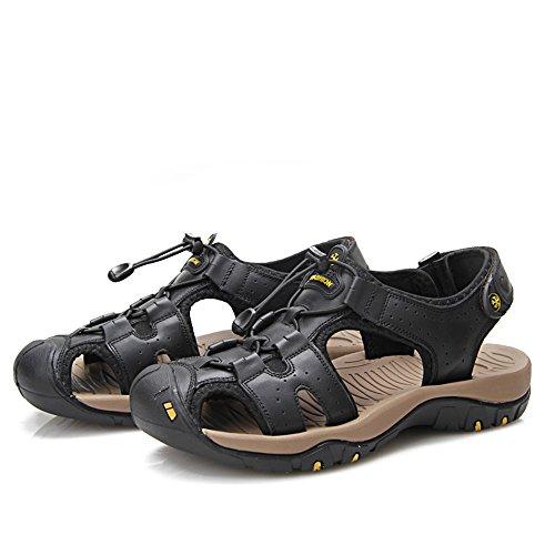 Color Non Lace Beach Genuine amp;Baby Closed Sandals 8MUS Black Leather Soft Sandals Toe Resistant Men's Sunny Cross Blue Cutting Criss Sole Slip Abrasion Size vqFHSww