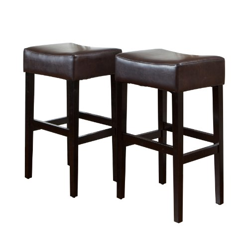 - Best-selling Classic Brown Leather Backless Barstool, 2-Pack