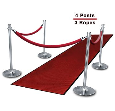 Cardinal Red and Satin Stainless Steel 842594073288 4 feet long Lavi Industries Velvet Rope with Snap Hooks