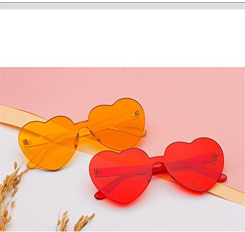 sol sin Gafas Vintage corazón bastidor reborde tinte sol de DESESHENME transparente Gafas amarillo gafas amor claro mujer Amarillo de wECWn0qA